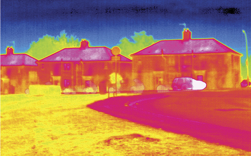Decarbonising Heat Thermogram Heating of flats Science Photo